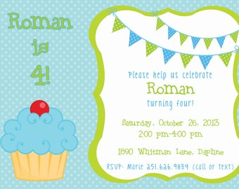 Boy or Girl Cupcake Birthday Party Invitation