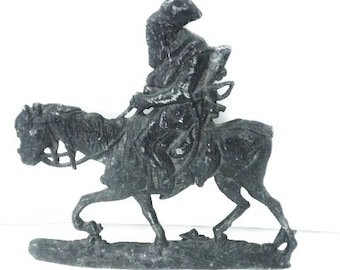 Antique Asian Cast Horse and Rider Wall Plaque