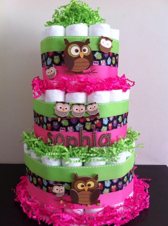 tier owl diaper cake owl baby shower decor baby girl shower