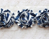 SALE!!!  1 Yard Navy Stripe Shabby Chiffon Flower Trim - Flower Trim for Headbands and DIY supplies