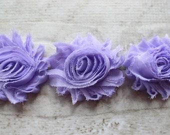 1/2 Yard Shabby Chiffon Flower Trim in Lavender - Flower Trim for Headbands and DIY supplies