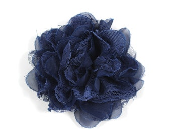 3.75 inch Chiffon Lace Flower in Navy - Flower Head for Headbands and DIY Hair Accessories