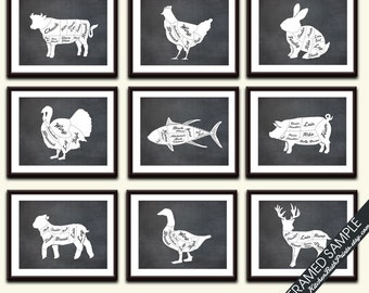 Butcher Diagram Series Collection (Series B) - Set of 9 - Art Prints (Featured Vintage Chalkboard) Kitchen Prints