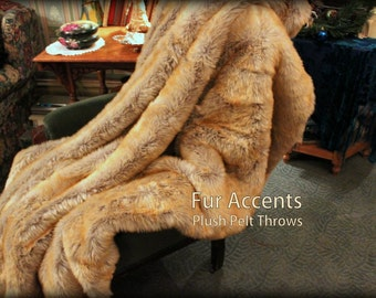 Fur Accents Luxurious Faux Fur Throw Blanket /  Gray with Rust Tips