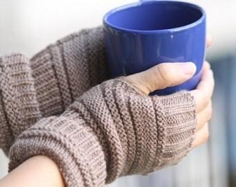 G1  Ready to Ship  Light Brown  Fingerless Gloves