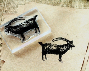 Goat Rubber Stamp - Ibex Rubber Stamp - Billy Goat Stamp 4 x 6 inches