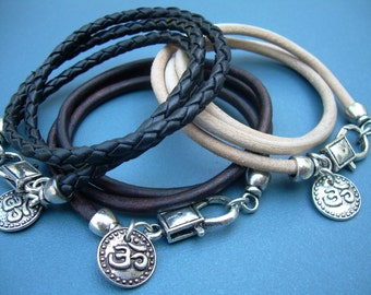OM Leather  Bracelet, Triple Wrap Bracelet, OM Charm, Women's Bracelet, Men's Bracelet,  Women's Jewelry, Men's Jewelry,Namaste,Yoga Jewelry