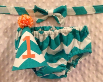 Boys Cake Smash Outfit - Teal Chevron - Diaper Cover, Bow Tie & Birthday Hat - Birthday Set