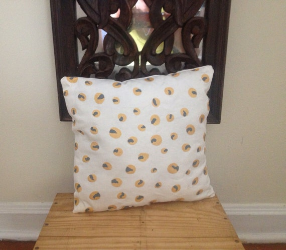 White Pillow Hand Painted Gold Metallic and Gray  Polka Dots Organic Pillow
