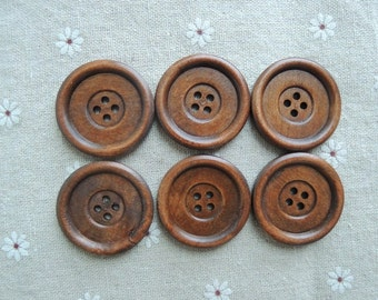 10pcs  35mm Brown Coffee Wood button 2  holes( W704)