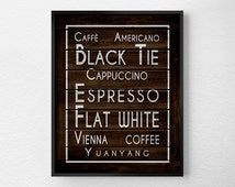 Coffee Print, Coffee Art, Rustic Kitchen Print, Kitchen Wall Art, Coffee Decor, Coffee Kitchen Art, Coffee Poster, Coffee Lover Gift, 0308