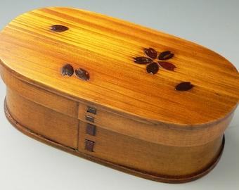 Japanese Bento Lunch Box Magewappa lacquering natural wood with sakura design