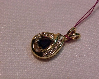 14k Yellow Gold Pendant/Charm-Sapphire, Diamonds Hallmarket-