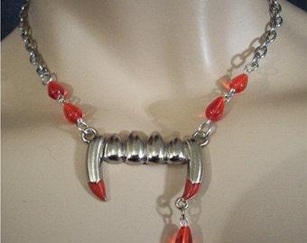 Mega SALE Vampire Fang Choker Necklace with Czech beads  / Goth /   Halloween