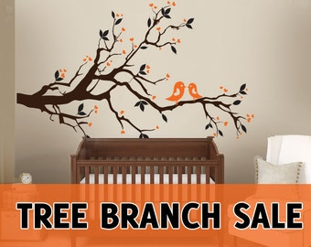 SALE Tree Branch Leaves Birds Hearts 2 color Wall Vinyl Decal Sticker Living Room Decor DISCOUNT