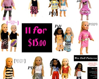 "Fits 18"" American Girl Doll Clothes  PDF Sewing Patterns 11 patterns for 15.00"