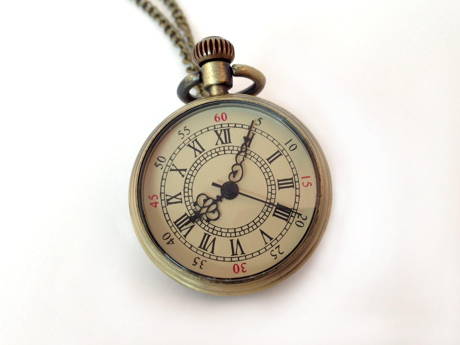 1 Pc Small Roman Numeral Pocket Watch Necklace Simple Round