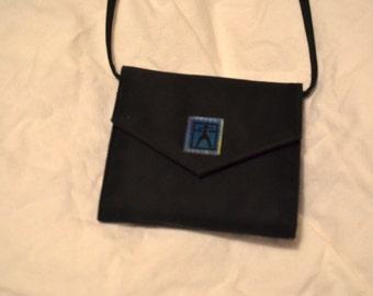 Vintage Black American girl small minimalist purse; compact shoulder purple interior bag for cards/wallet stuff