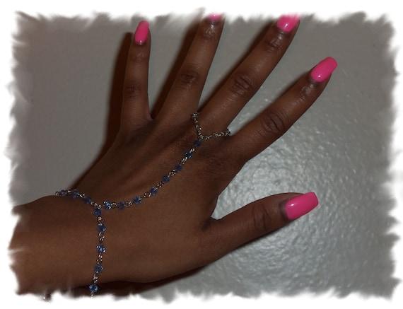 Lt. Sapphire Blue Finger Bracelet with Swarovski Rondelle Crystals