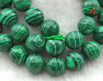 Malachite faceted round Manmade beads 10mm,37 pcs