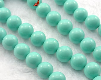 Solid color Shell Pearl smooth round beads 10mm,37 pcs