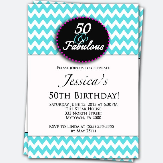 50 And Fabulous Text: 50th Birthday Invitation 50 And Fabulous Pink By