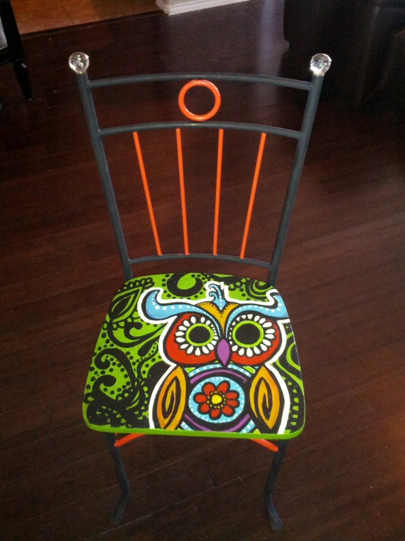 Hand Painted Owl Chair Retro Style Hippie Chair With Beaded