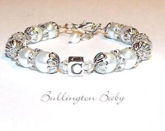 Baby Bracelet, Girls Bracelet, Baby Pearl Bracelet, Girls Pearl Bracelet, Initial Bracelet, Girls Pearl Bracelet (B26)