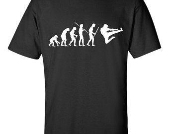 Evolution of Man Karate T shirt MMA kung fu Flying kick fighting competition Tee