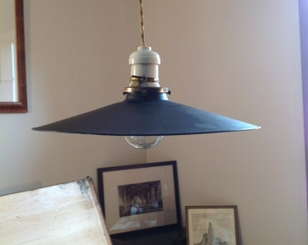 "Industrial Antique Light Fixture - Porcelain Enamel Pendant, 12"" Diameter, 4"" High"