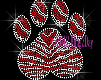 Large Zebra RED Paw Print - Iron on Rhinestone Transfer Bling Hot Fix - Sports School Mascot Mom - DIY