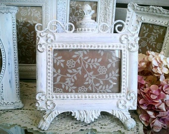 Items similar to cottage style white frame vintage for Bungalow style picture frames