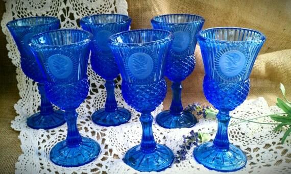 Vintage Avon Fostoria Goblets, George and Martha Washington Cameos, Bicentenial set of 6 Cobalt Blue Goblets
