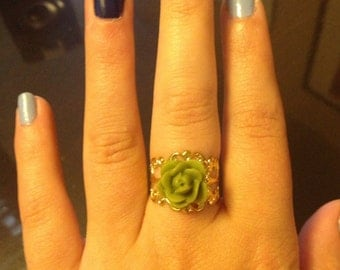 Yellow Gold Green Flower Adjustable Ring