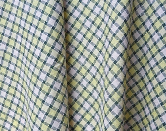 """Vintage Pink and Yellow Gingham Cotton Fabric, c. 1950's (44"""" x 2 yards)"""
