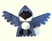 Bluebird Blue Kingfisher Bird Hand Puppet Educational Kids Toy Bird Eco Friendly Eco-fi Felt Childs Animal Birthday Woodland Decor Blue Jay