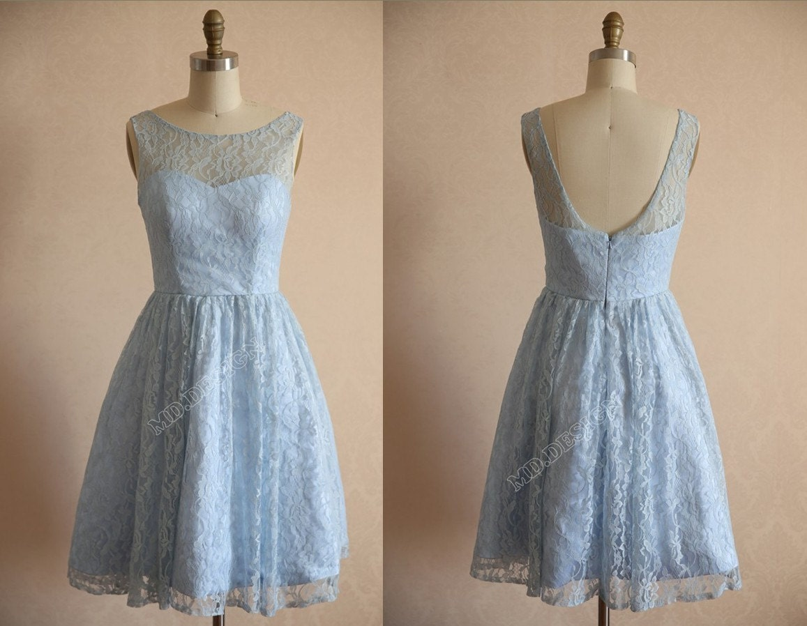 Light blue lace bridesmaid dress prom dress open by misdress for Light blue lace wedding dress