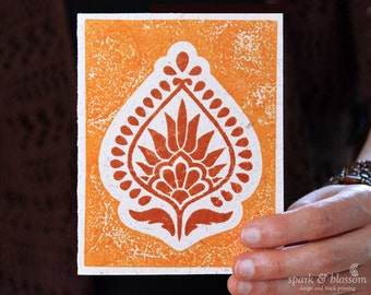 Greeting Card - Meadow Flower - hand block printed on natural paper with orange and henna inks