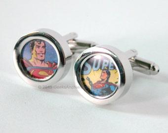Gifts for Groomsmen - Superman Cufflinks - DC Comics Cufflinks - Superhero Cufflinks- Mens Cuff Links - Gift for HIm - Best Man Gift