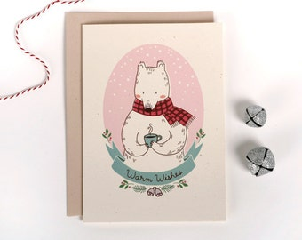 "A2 Christmas/Holiday card - ""Warm Wishes"" Polar Bear"