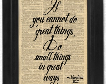 Do Small things in great ways Quote beautifully upcycled dictionary page book art print, Gift