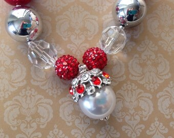 Christmas Bling Bubblegum Necklace, Chunky Bubblegum Bead Necklace, Diva, Princess Bling, Christmas  Jewelry, Photo Prop