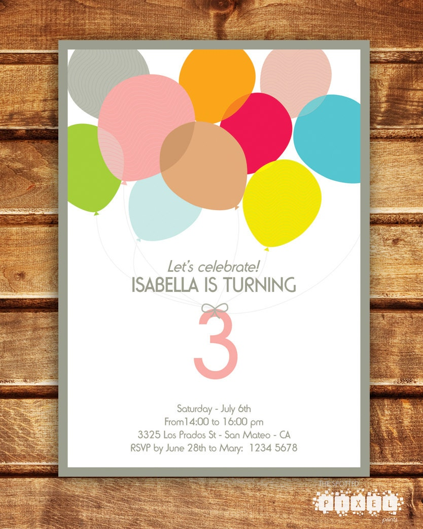 Balloons party birthday invitation boy girl