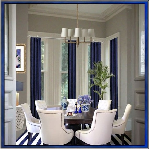 Play Formal Living Room Escape Game: Items Similar To Set Of 4 Blue Royal Burlap Curtains