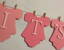 It's A Girl-Pink Foot Prints Baby Banner, Baby Shower Decorations, Party Decorations, Mini Clothes Pins