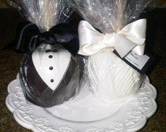 50 Bride & Groom Wedding Apples-Chocolate Caramel Dipped Apples for Favors
