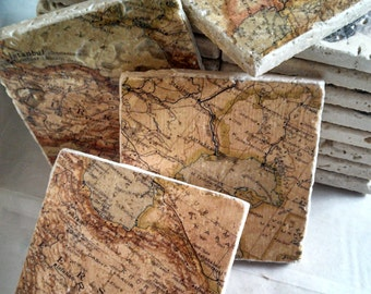 Persian Map Marble Tile Coasters - Set of 4