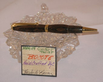 Handcrafted Comfort slimline twist pen (BOCOTE)(24Kt Gold Plating)(includes a Black Felt Pen Box)