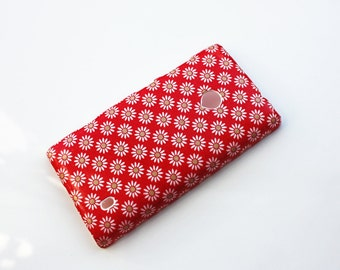 White Daisies on Red Pattern Nokia Lumia 521 Hard Shell Skin Cover Case