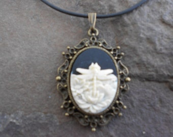Stunning Ivory Dragonfly on Black Cameo Pendant Necklace--- Great Quality--- Unique Piece